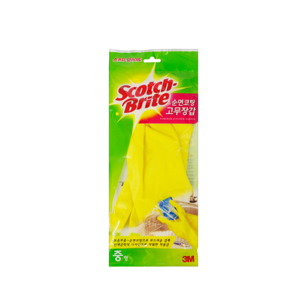 (8801230102869)3M 스카치브라이트 순면코팅 고무장갑 노랑